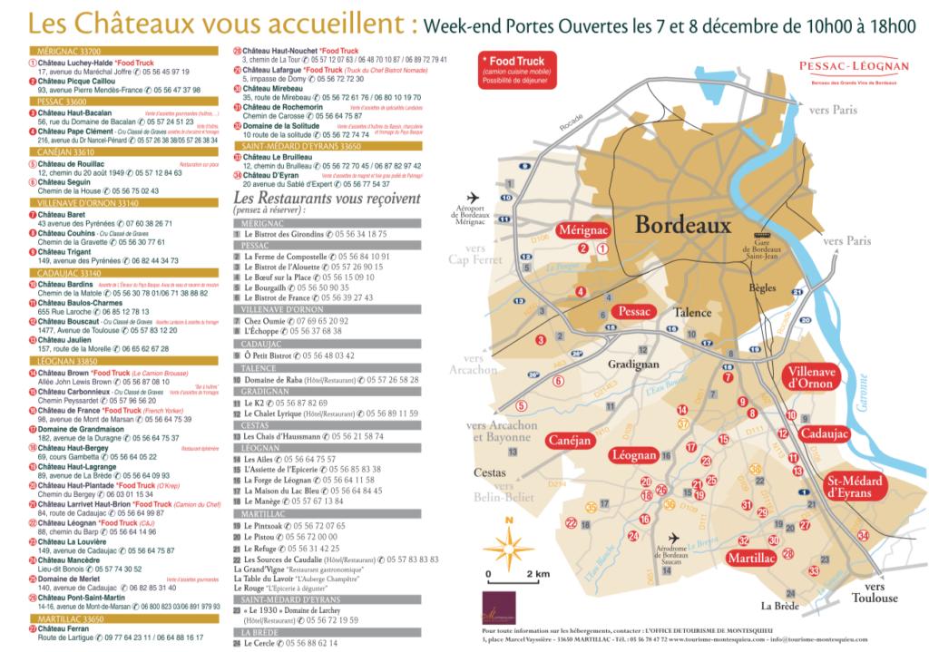 Week-end portes ouvertes Pessac-Léognan - carte